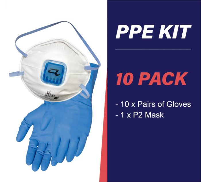 10 pack PPE kit with gloves and p2 mask