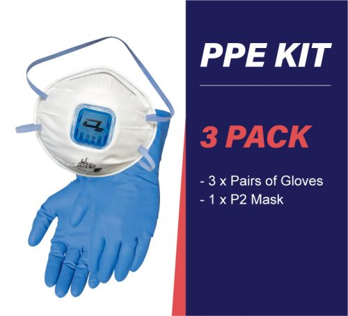 3 pack PPE kit with gloves and p2 mask